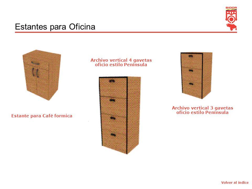6 Estantes para Oficina Estante para Café formica Archivo vertical 4 gavetas oficio estilo Península Archivo vertical 3 gavetas oficio estilo Península Volver al índice