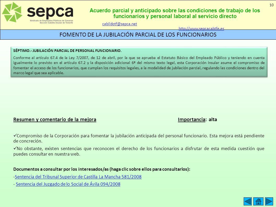 Acuerdo parcial y anticipado sobre las condiciones de trabajo de los funcionarios y personal laboral al servicio directo FOMENTO DE LA JUBILACIÓN PARC
