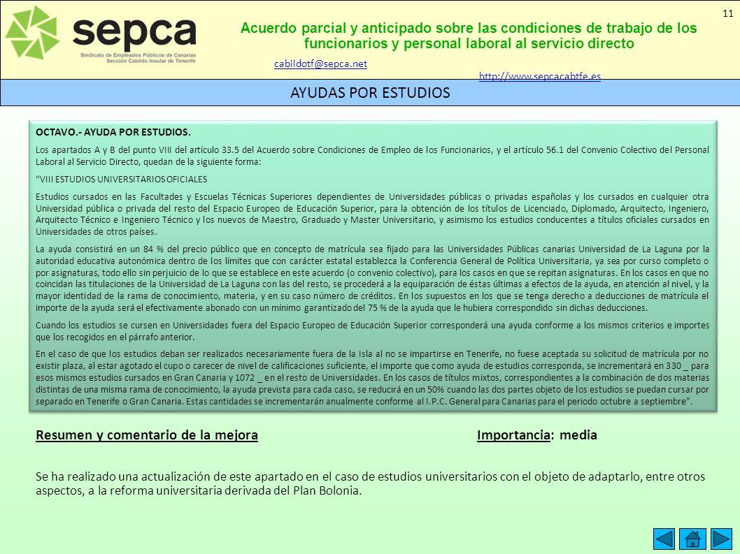 Acuerdo parcial y anticipado sobre las condiciones de trabajo de los funcionarios y personal laboral al servicio directo AYUDAS POR ESTUDIOS 11 Resume