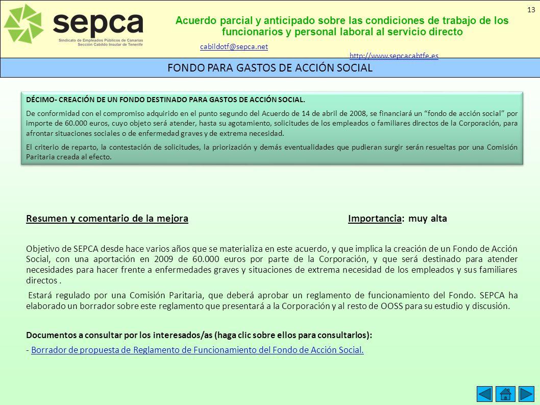 Acuerdo parcial y anticipado sobre las condiciones de trabajo de los funcionarios y personal laboral al servicio directo FONDO PARA GASTOS DE ACCIÓN S