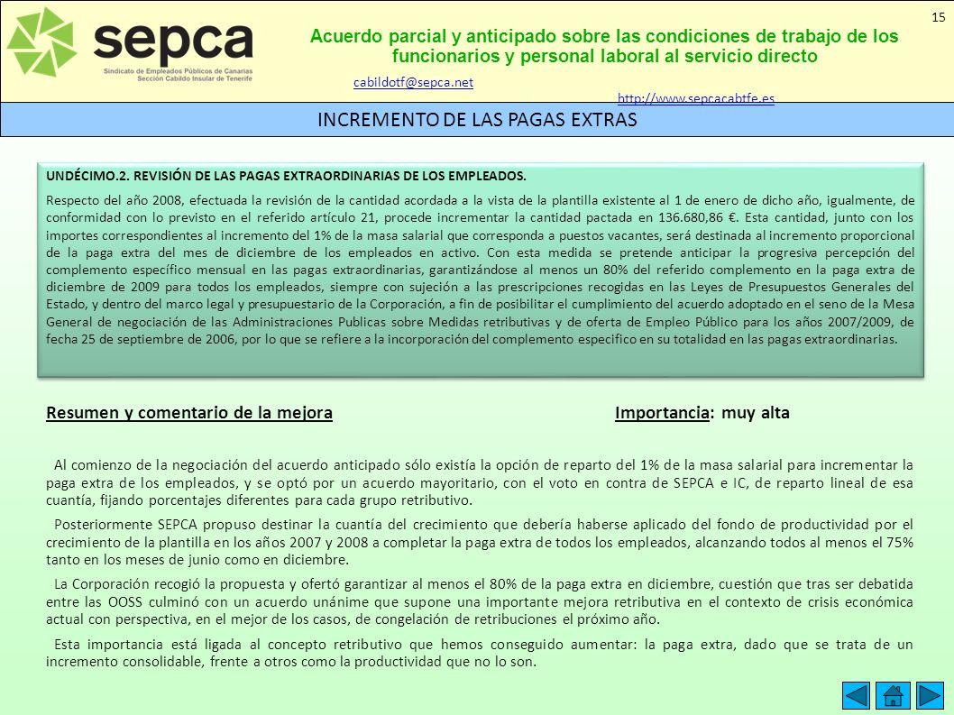Acuerdo parcial y anticipado sobre las condiciones de trabajo de los funcionarios y personal laboral al servicio directo INCREMENTO DE LAS PAGAS EXTRA