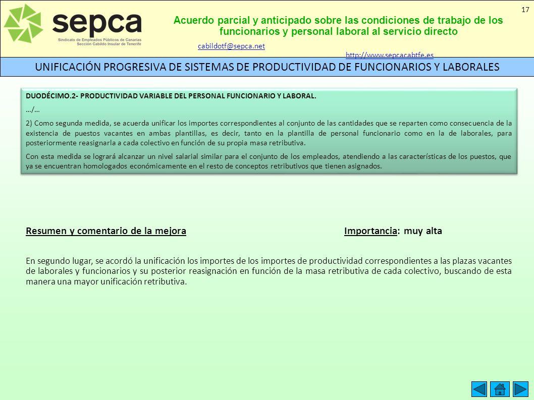 Acuerdo parcial y anticipado sobre las condiciones de trabajo de los funcionarios y personal laboral al servicio directo UNIFICACIÓN PROGRESIVA DE SIS
