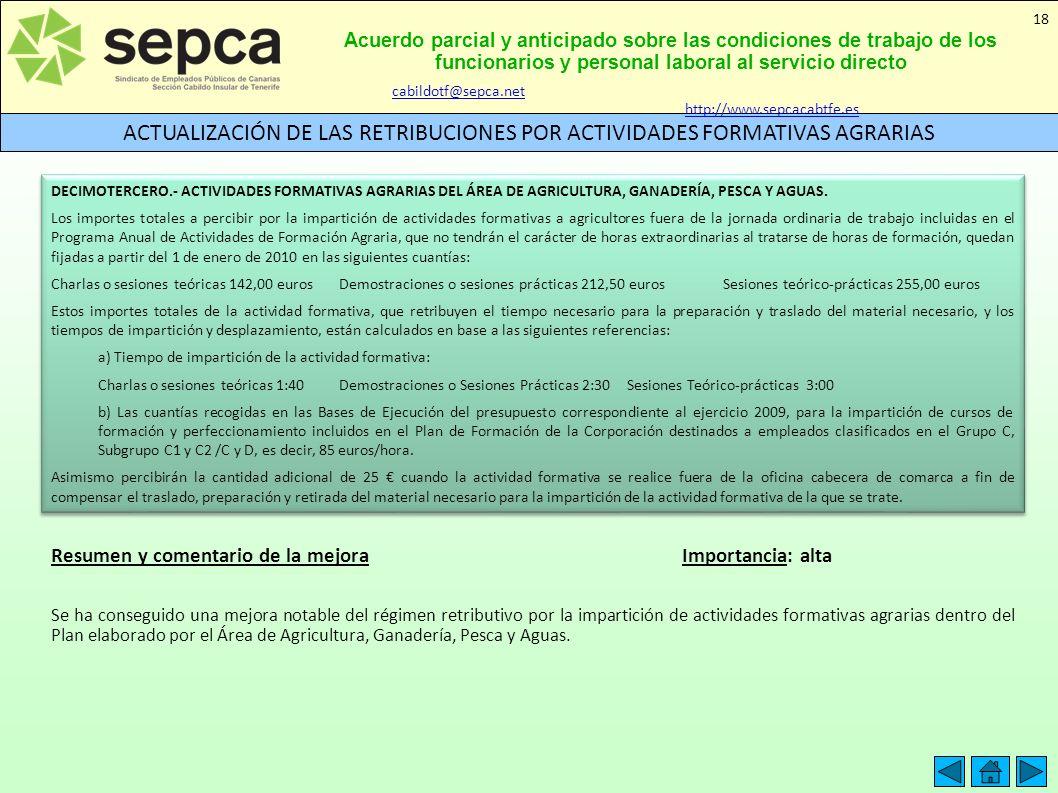 Acuerdo parcial y anticipado sobre las condiciones de trabajo de los funcionarios y personal laboral al servicio directo ACTUALIZACIÓN DE LAS RETRIBUC