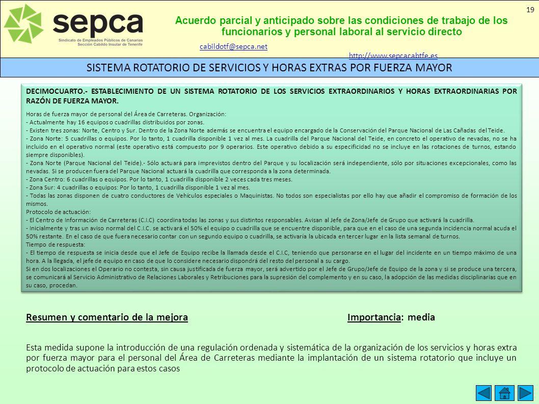 Acuerdo parcial y anticipado sobre las condiciones de trabajo de los funcionarios y personal laboral al servicio directo SISTEMA ROTATORIO DE SERVICIO