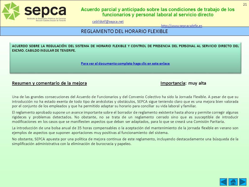 Acuerdo parcial y anticipado sobre las condiciones de trabajo de los funcionarios y personal laboral al servicio directo REGLAMENTO DEL HORARIO FLEXIB
