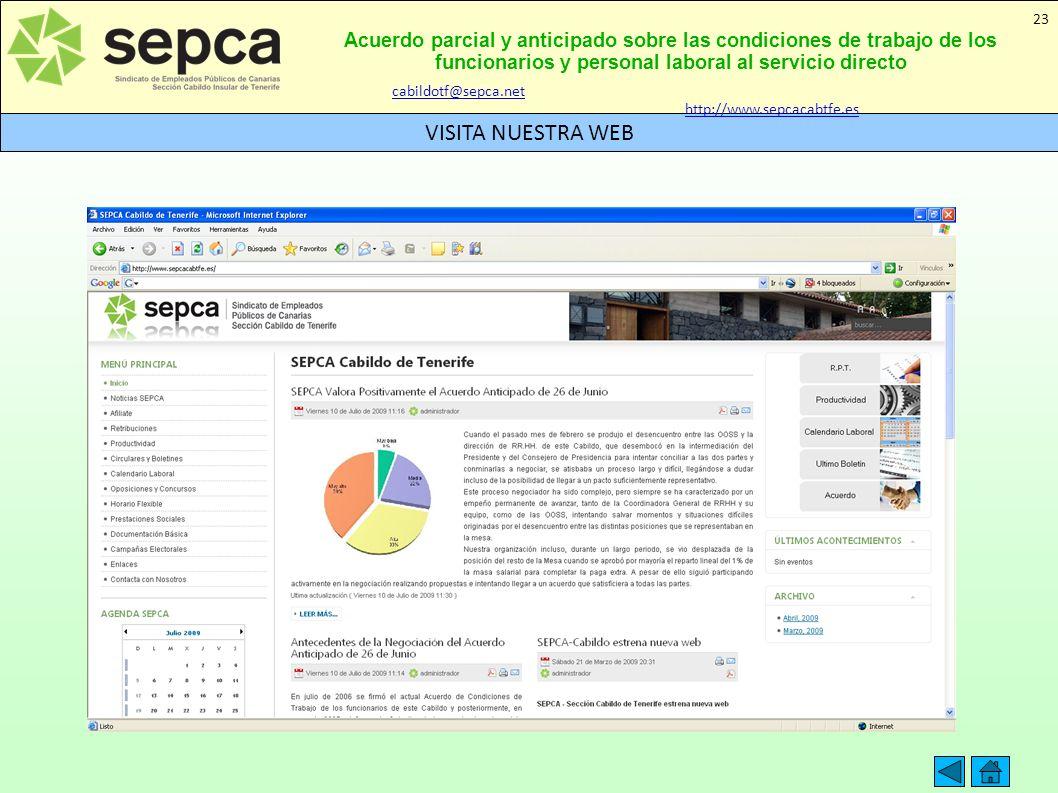 Acuerdo parcial y anticipado sobre las condiciones de trabajo de los funcionarios y personal laboral al servicio directo VISITA NUESTRA WEB 23 cabildo