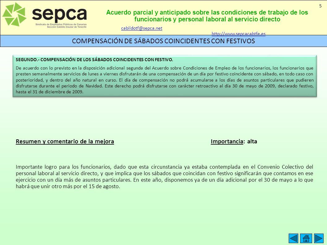 Acuerdo parcial y anticipado sobre las condiciones de trabajo de los funcionarios y personal laboral al servicio directo COMPENSACIÓN DE SÁBADOS COINC
