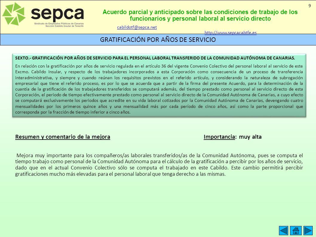 Acuerdo parcial y anticipado sobre las condiciones de trabajo de los funcionarios y personal laboral al servicio directo GRATIFICACIÓN POR AÑOS DE SER