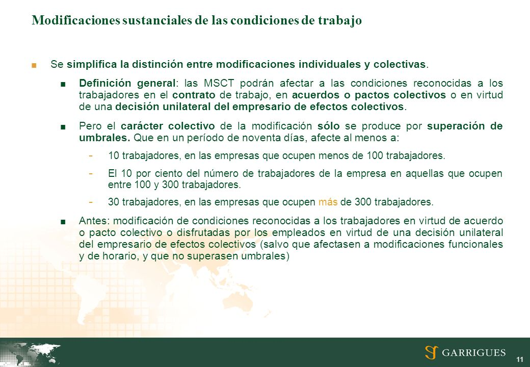11 Modificaciones sustanciales de las condiciones de trabajo Se simplifica la distinción entre modificaciones individuales y colectivas. Definición ge