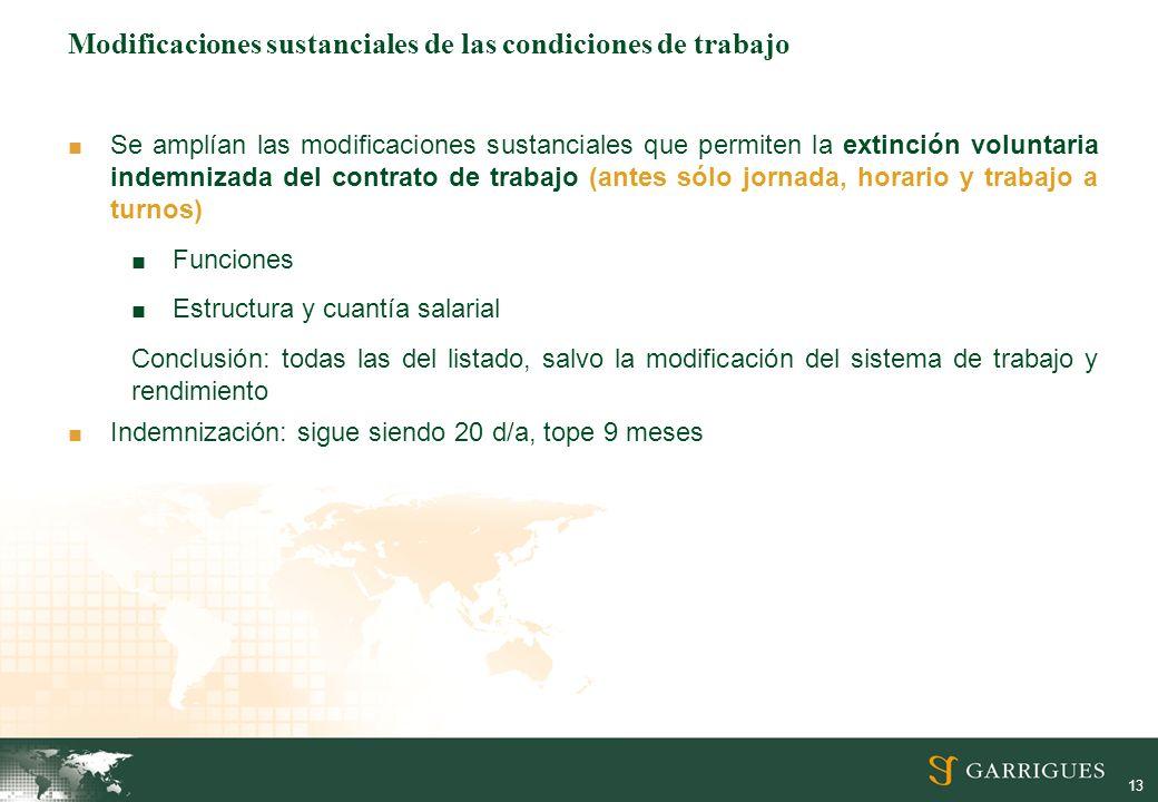 13 Modificaciones sustanciales de las condiciones de trabajo Se amplían las modificaciones sustanciales que permiten la extinción voluntaria indemniza