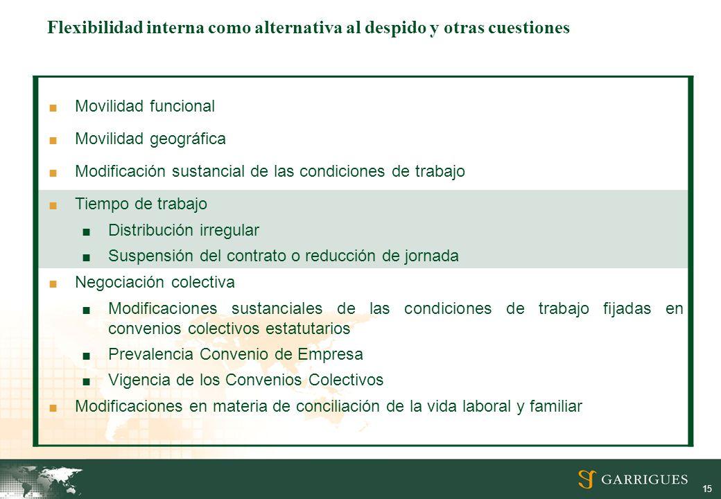 15 Movilidad funcional Movilidad geográfica Modificación sustancial de las condiciones de trabajo Tiempo de trabajo Distribución irregular Suspensión