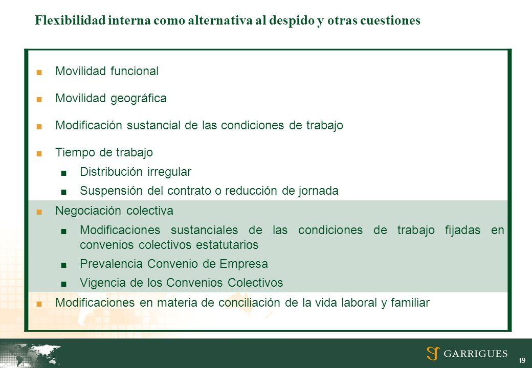 19 Movilidad funcional Movilidad geográfica Modificación sustancial de las condiciones de trabajo Tiempo de trabajo Distribución irregular Suspensión
