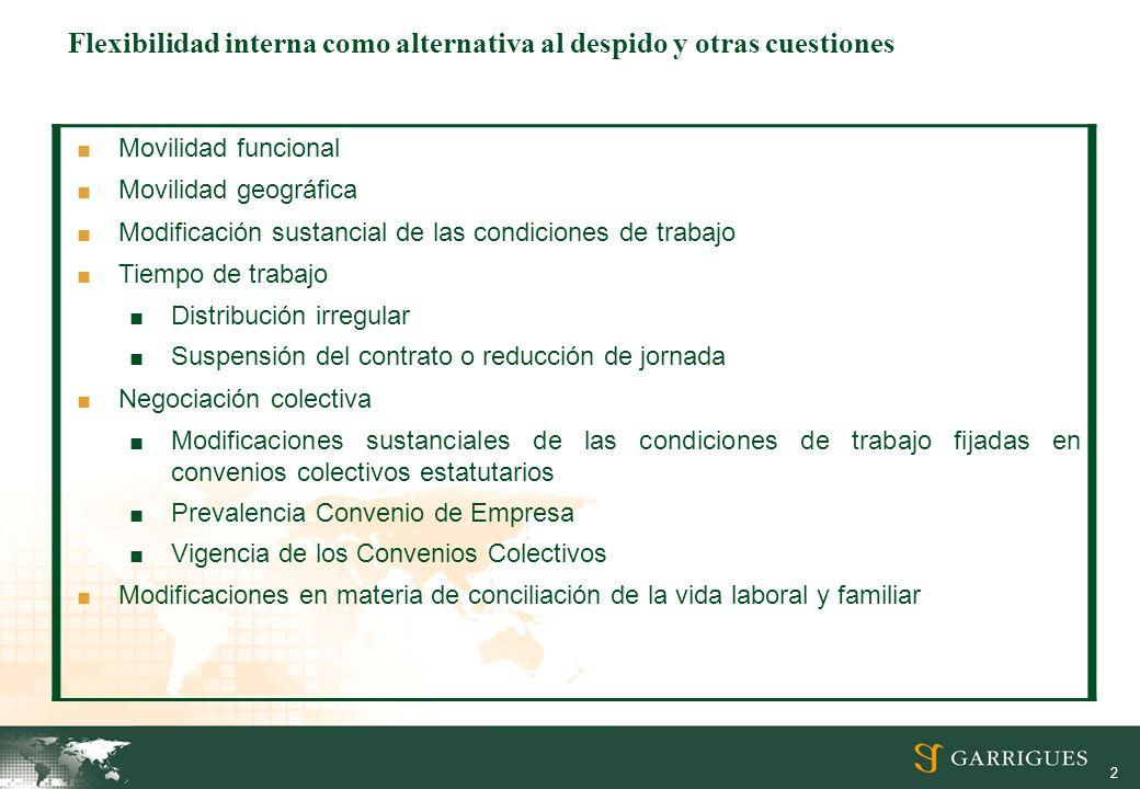 2 Flexibilidad interna como alternativa al despido y otras cuestiones Movilidad funcional Movilidad geográfica Modificación sustancial de las condicio
