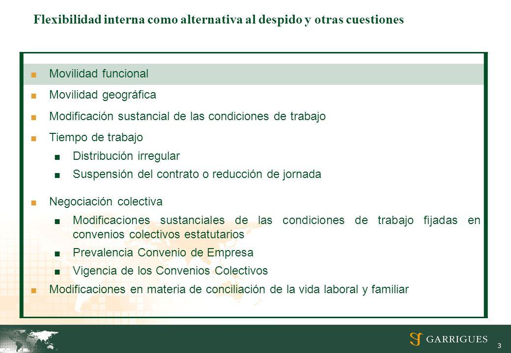 3 Movilidad funcional Movilidad geográfica Modificación sustancial de las condiciones de trabajo Tiempo de trabajo Distribución irregular Suspensión d