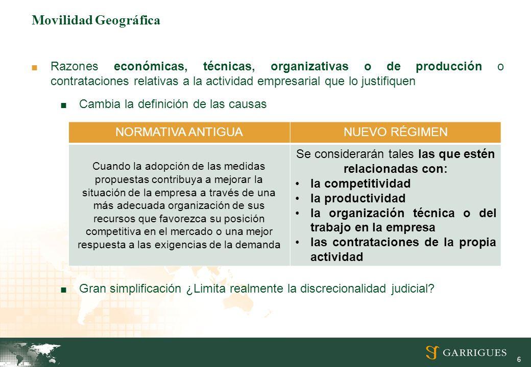 6 Movilidad Geográfica Razones económicas, técnicas, organizativas o de producción o contrataciones relativas a la actividad empresarial que lo justif