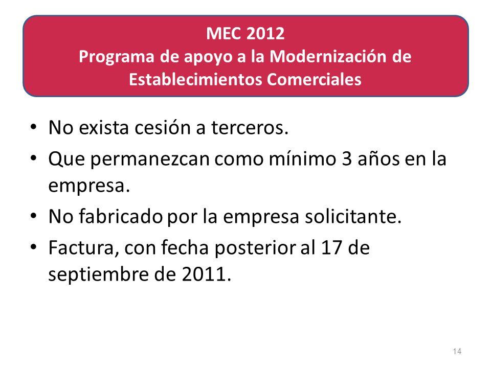 de Establecimientos ComercialesMEC 2011 Programa de apoyo a la Modernización No exista cesión a terceros.