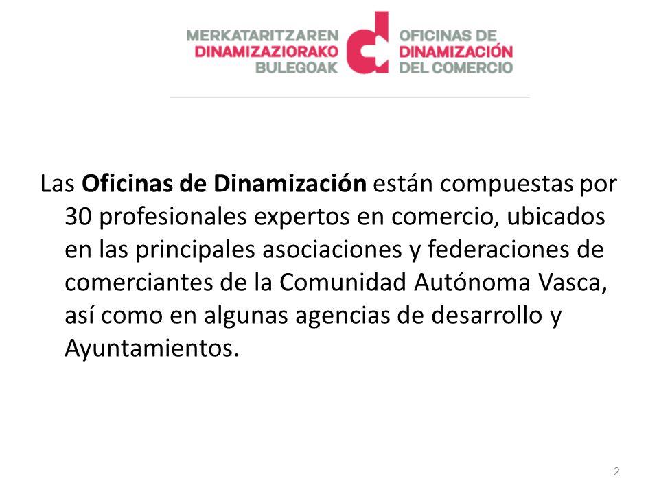 Las Oficinas de Dinamización están compuestas por 30 profesionales expertos en comercio, ubicados en las principales asociaciones y federaciones de comerciantes de la Comunidad Autónoma Vasca, así como en algunas agencias de desarrollo y Ayuntamientos.