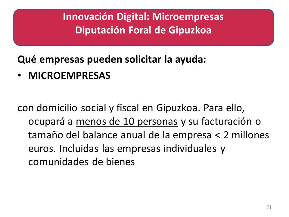 Qué empresas pueden solicitar la ayuda: MICROEMPRESAS con domicilio social y fiscal en Gipuzkoa.