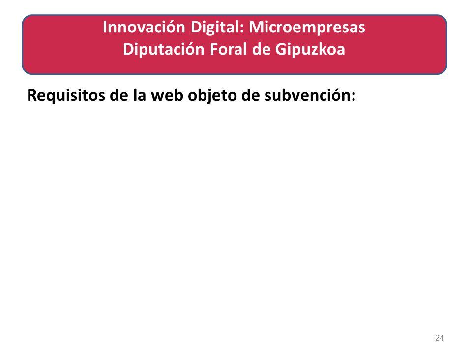 Requisitos de la web objeto de subvención: 24 Innovación Digital: Microempresas Diputación Foral de Gipuzkoa