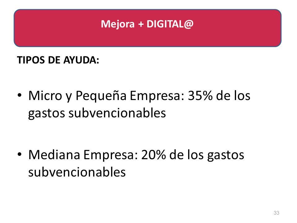 TIPOS DE AYUDA: Micro y Pequeña Empresa: 35% de los gastos subvencionables Mediana Empresa: 20% de los gastos subvencionables 33 Mejora + DIGITAL@