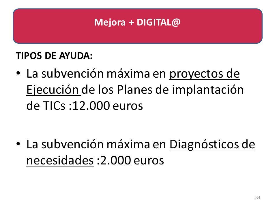 TIPOS DE AYUDA: La subvención máxima en proyectos de Ejecución de los Planes de implantación de TICs :12.000 euros La subvención máxima en Diagnósticos de necesidades :2.000 euros 34 Mejora + DIGITAL@
