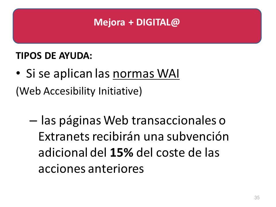 TIPOS DE AYUDA: Si se aplican las normas WAI (Web Accesibility Initiative) – las páginas Web transaccionales o Extranets recibirán una subvención adicional del 15% del coste de las acciones anteriores 35 Mejora + DIGITAL@