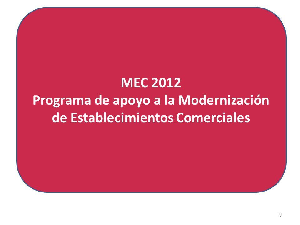 9 MEC 2012 Programa de apoyo a la Modernización de Establecimientos Comerciales