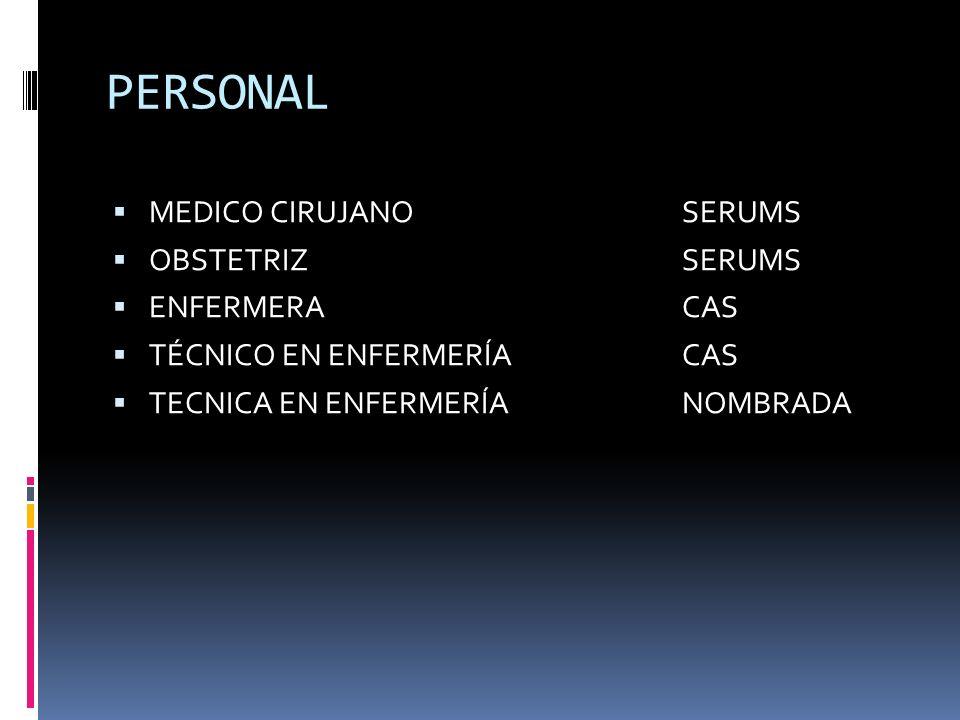 PERSONAL MEDICO CIRUJANO SERUMS OBSTETRIZ SERUMS ENFERMERACAS TÉCNICO EN ENFERMERÍACAS TECNICA EN ENFERMERÍANOMBRADA