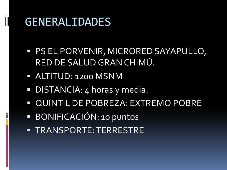 GENERALIDADES PS EL PORVENIR, MICRORED SAYAPULLO, RED DE SALUD GRAN CHIMÚ. ALTITUD: 1200 MSNM DISTANCIA: 4 horas y media. QUINTIL DE POBREZA: EXTREMO