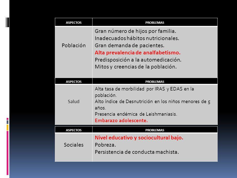 ASPECTOSPROBLEMAS Población Gran número de hijos por familia. Inadecuados hábitos nutricionales. Gran demanda de pacientes. Alta prevalencia de analfa