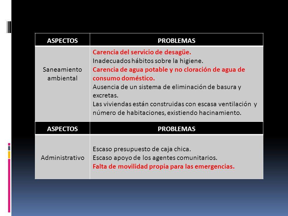 ASPECTOSPROBLEMAS Saneamiento ambiental Carencia del servicio de desagüe.