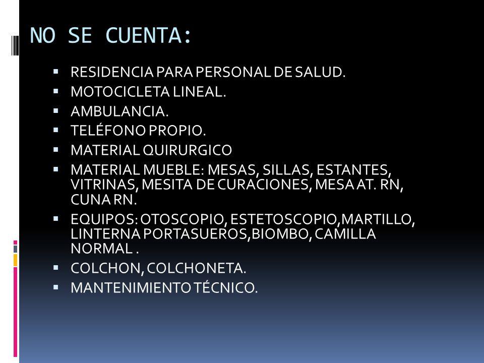 NO SE CUENTA: RESIDENCIA PARA PERSONAL DE SALUD. MOTOCICLETA LINEAL. AMBULANCIA. TELÉFONO PROPIO. MATERIAL QUIRURGICO MATERIAL MUEBLE: MESAS, SILLAS,