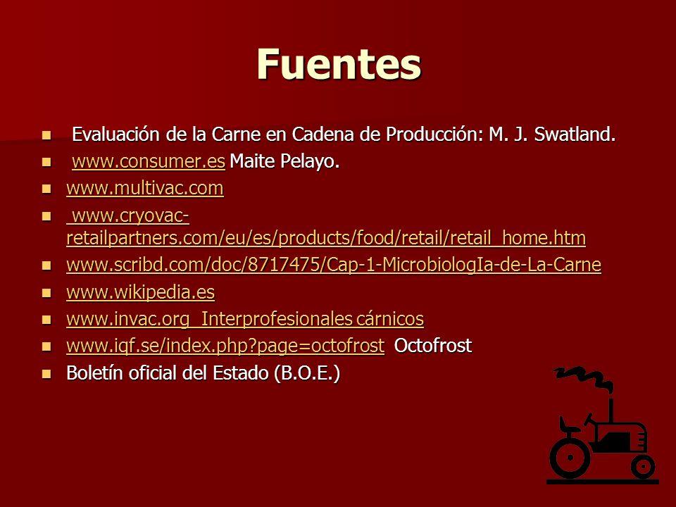 Fuentes Evaluación de la Carne en Cadena de Producción: M. J. Swatland. Evaluación de la Carne en Cadena de Producción: M. J. Swatland. www.consumer.e