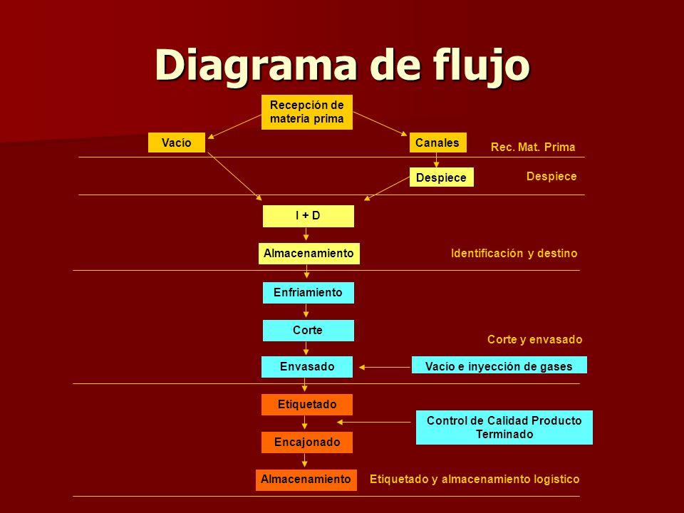 Diagrama de flujo Recepción de materia prima VacíoCanales Despiece Vacío e inyección de gases I + D Almacenamiento Enfriamiento Corte Envasado Etiquet