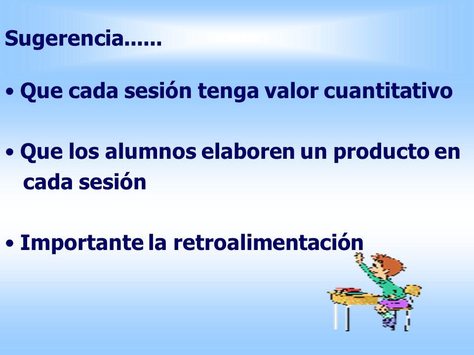 Sugerencia...... Que cada sesión tenga valor cuantitativo Que los alumnos elaboren un producto en cada sesión Importante la retroalimentación