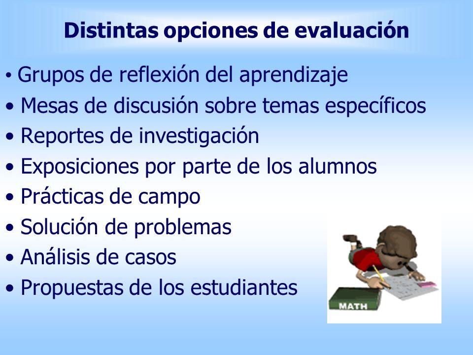 Distintas opciones de evaluación Grupos de reflexión del aprendizaje Mesas de discusión sobre temas específicos Reportes de investigación Exposiciones