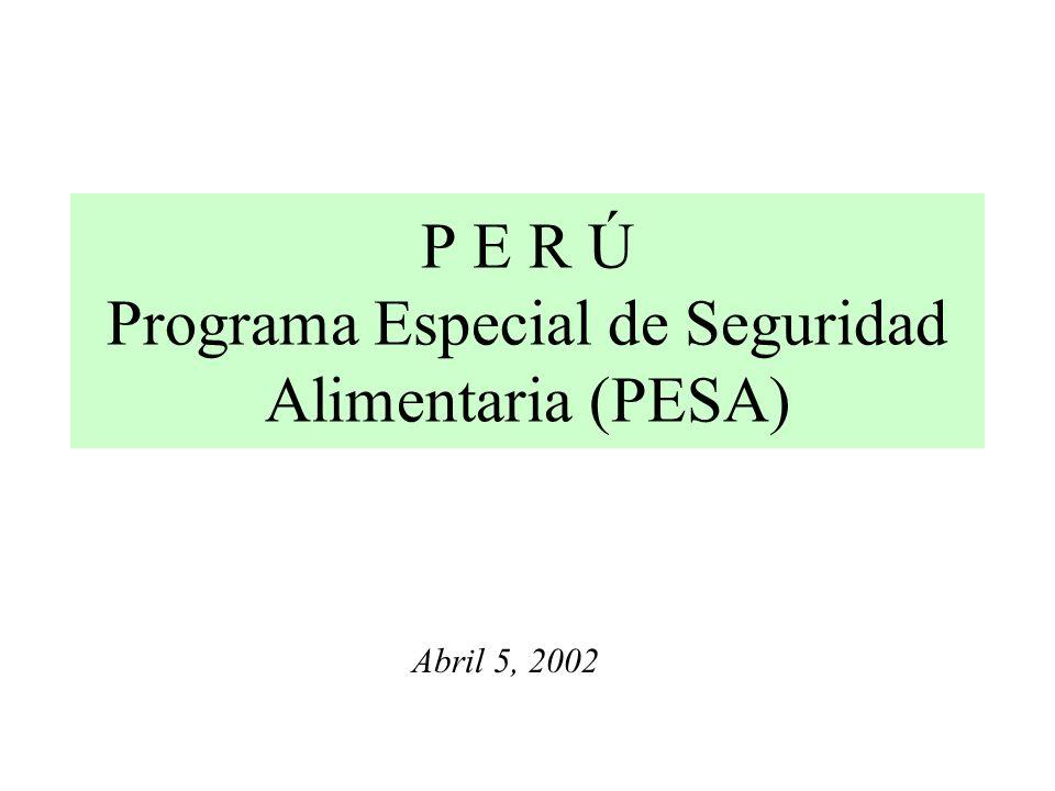 P E R Ú Programa Especial de Seguridad Alimentaria (PESA) Abril 5, 2002