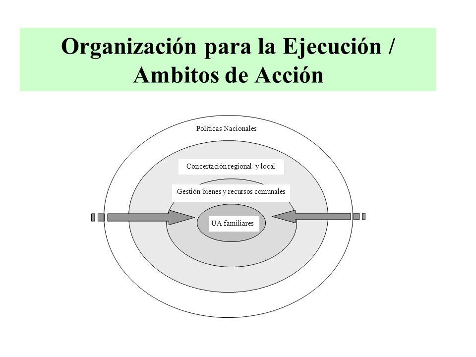 Organización para la Ejecución / Ambitos de Acción Concertación regional y local Gestión bienes y recursos comunales UA familiares Políticas Nacionales