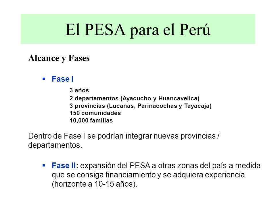 Alcance y Fases Fase I 3 años 2 departamentos (Ayacucho y Huancavelica) 3 provincias (Lucanas, Parinacochas y Tayacaja) 150 comunidades 10,000 familias Dentro de Fase I se podrían integrar nuevas provincias / departamentos.