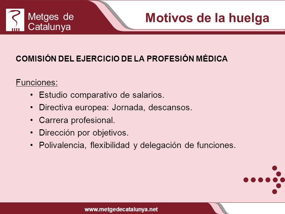 Metges de Catalunya www.metgedecatalunya.net Motivos de la huelga COMISIÓN DEL EJERCICIO DE LA PROFESIÓN MÉDICA Funciones: Estudio comparativo de sala