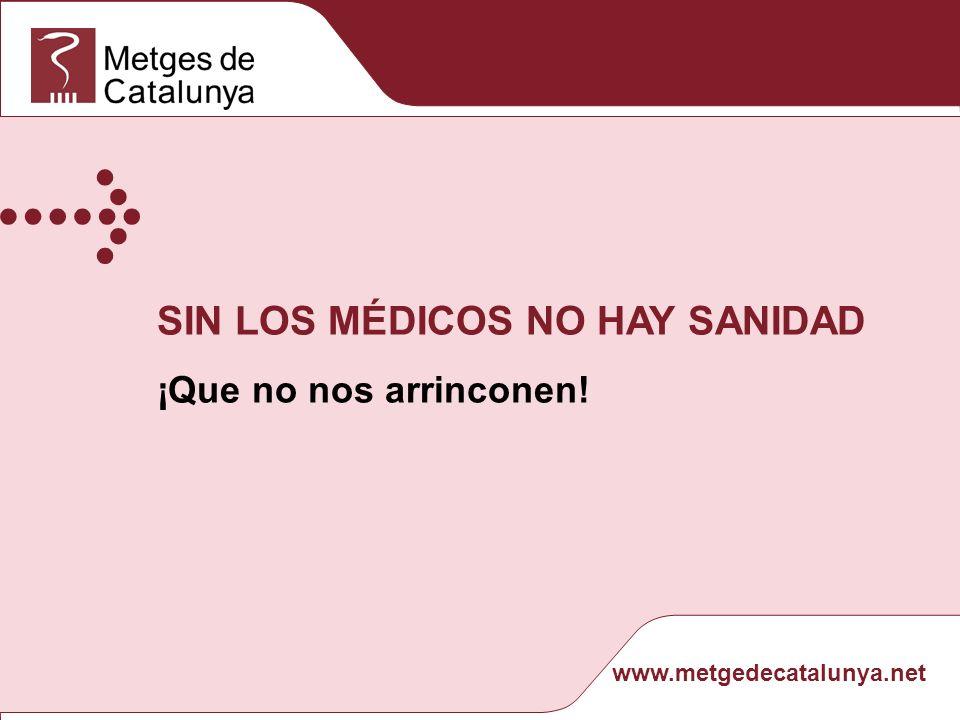 www.metgedecatalunya.net SIN LOS MÉDICOS NO HAY SANIDAD¡Que no nos arrinconen!