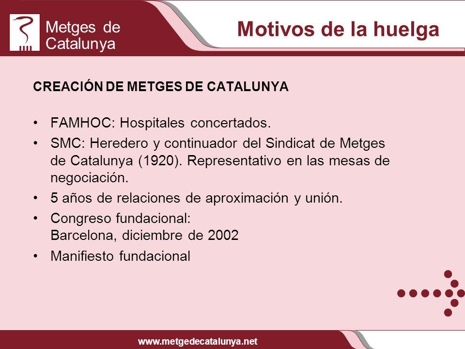 Metges de Catalunya www.metgedecatalunya.net Motivos de la huelga CREACIÓN DE METGES DE CATALUNYA FAMHOC: Hospitales concertados. SMC: Heredero y cont