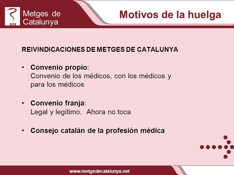 Metges de Catalunya www.metgedecatalunya.net REIVINDICACIONES DE METGES DE CATALUNYA Convenio propio: Convenio de los médicos, con los médicos y para