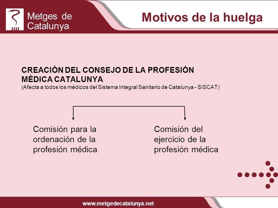 Metges de Catalunya www.metgedecatalunya.net CREACIÓN DEL CONSEJO DE LA PROFESIÓN MÉDICA CATALUNYA (Afecta a todos los médicos del Sistema Integral Sa