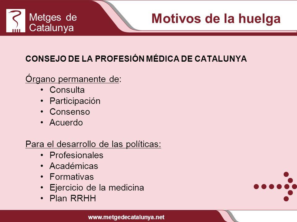 Metges de Catalunya www.metgedecatalunya.net CONSEJO DE LA PROFESIÓN MÉDICA DE CATALUNYA Órgano permanente de: Consulta Participación Consenso Acuerdo