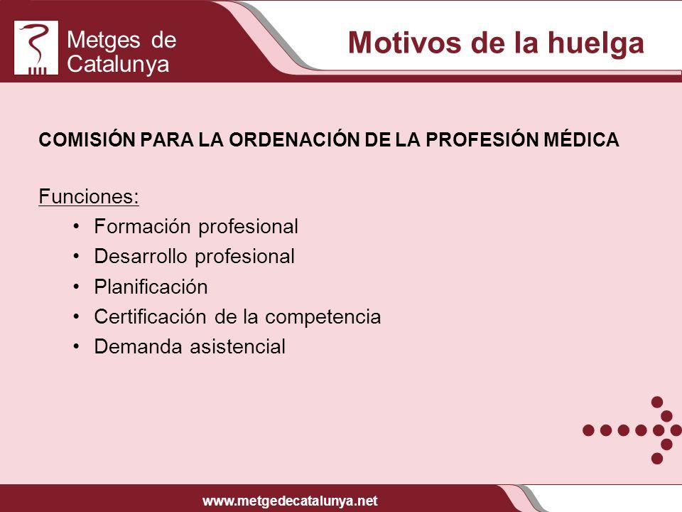 Metges de Catalunya www.metgedecatalunya.net COMISIÓN PARA LA ORDENACIÓN DE LA PROFESIÓN MÉDICA Funciones: Formación profesional Desarrollo profesiona