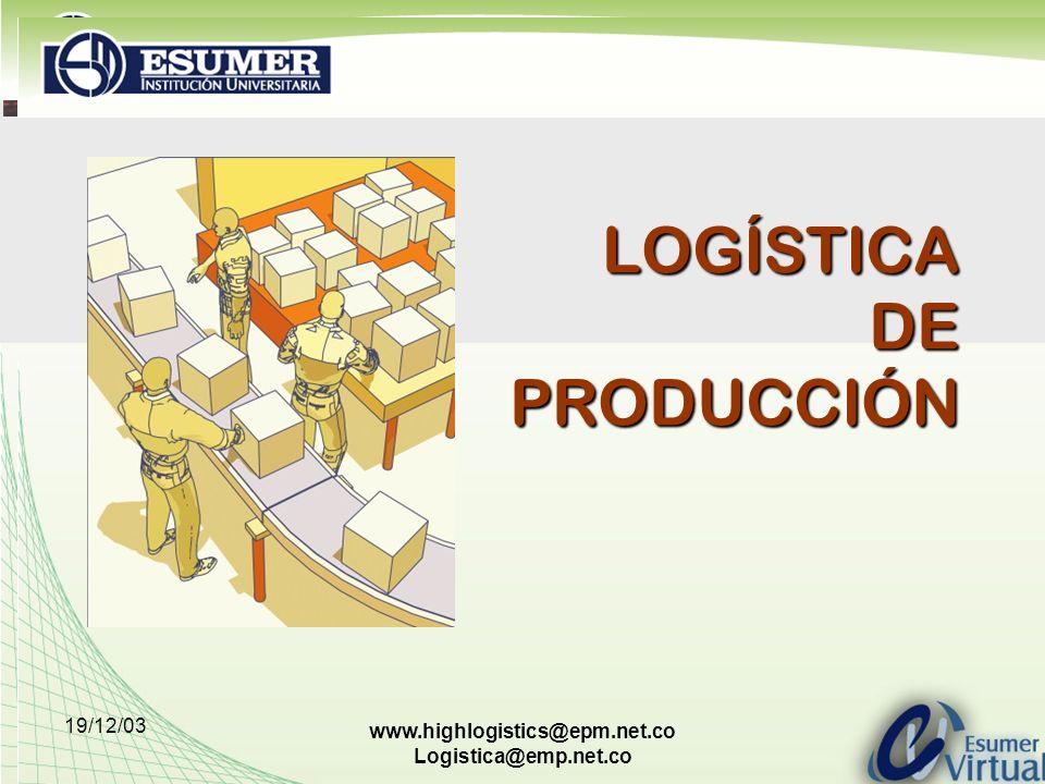19/12/03 www.highlogistics@epm.net.co Logistica@emp.net.co Logística de la Producción Entorno Dinámico Actual CAMBIOS Entorno económico.