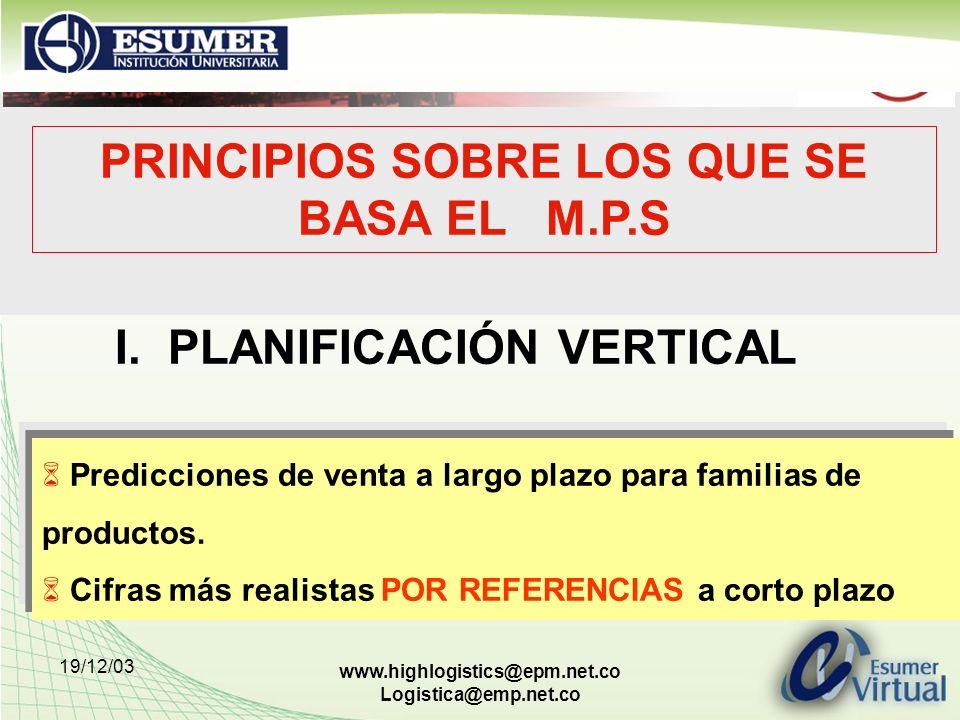 19/12/03 www.highlogistics@epm.net.co Logistica@emp.net.co PRINCIPIOS SOBRE LOS QUE SE BASA EL M.P.S I. PLANIFICACIÓN VERTICAL Predicciones de venta a
