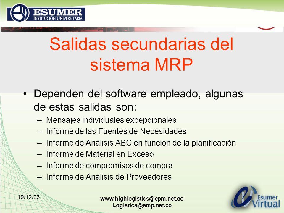 19/12/03 www.highlogistics@epm.net.co Logistica@emp.net.co Salidas secundarias del sistema MRP Dependen del software empleado, algunas de estas salida