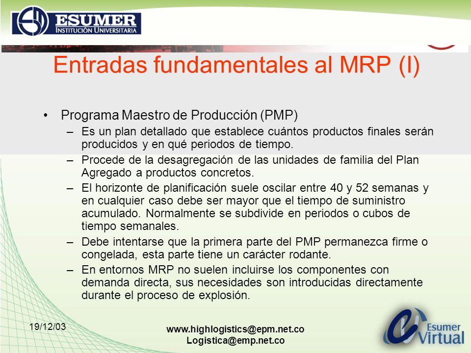 19/12/03 www.highlogistics@epm.net.co Logistica@emp.net.co Entradas fundamentales al MRP (I) Programa Maestro de Producción (PMP) –Es un plan detallad